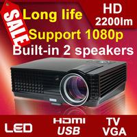 Hot Sale! 2200 lumens LCD mini HD computer USB HDMI LED 3D video digital projector beamer