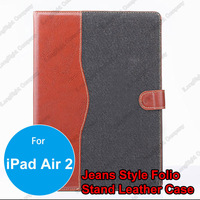 Hot sell in USA Soft Jeans Exterior Wallet Leather Stand Case for iPad Air 2