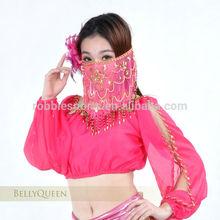 belly dance face veil pink