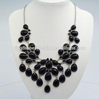 Fashion rhodium Tone Chain Water Drop black Resin Beads Bubble Crotch Pendant Statement Bib Necklace