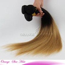 2014 Ali Queen Hair Products Ombre Color Straight Virgin Brazilian Hair Weave Bundles