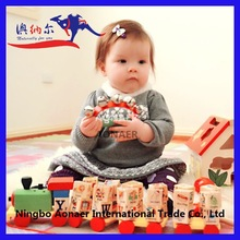 High Quality Alphabet and Numbers Educational Toys Vehicle Wooden Train Set Pull Along Toy Train with Light and Music