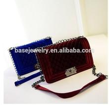Fashion woman handbag with velvet material designer handbag for lady handbag