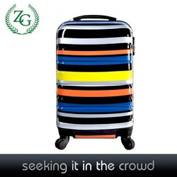 High quality Polychromatic striped material universal wheel abs trolley luggage