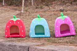 Soft Sponge Pet Dog Cat Bed Houses strawberry bones print design Lovely Warm Doggy Kennel