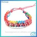 Moda moda trançado de borracha bandas de cores do arco-íris elásticos pulseira