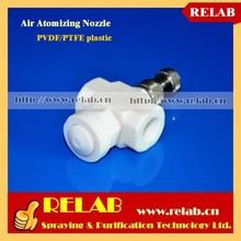 Acid and Alkali Resistance PVDF PTFE Plastic Full Cone Air Mist Nozzle