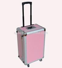 Aluminum Pink Trolley Suitcase Luggage