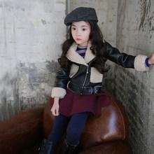 TAY5016 Korean winter fashion wild black fur short coat for kids