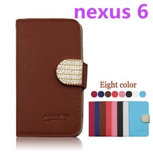 PU Leather flip wallet phone case for Motorola Nexus 6 Leather flip phone cover