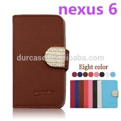 PU Leather flip wallet phone case for Motorola Nexus 6 Leather flip phone cover