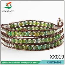 2014 handmade green bead leather bead landing crochet bead bracelet