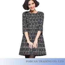 Korean Style Women Fashion Lace Dresses Plus Size XL-5XL Brand New Super Quality Flower Pattern Design Lady Cotton Dress YP06028