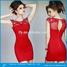 Above-knee Length Sheath Cap-sleeve Zipper Back Red Fancy Dress Party