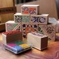 Venda quente forma quadrada da flor de madeira carimbo 10pcs/box