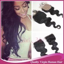4*4'' 100% Virgin Hair 3 Way Part Cheap Lace Closure Stock Silk Base Closure Free Shipping