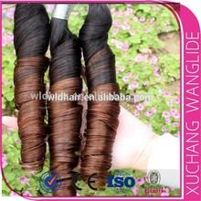 Wholesale spring curl ombre color virgin brazilian 100% human hair braiding hair