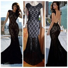 Fashion Ladies'Sexy O-Neck Slim Black Lace Women Maxi Mermaid Dress Short Sleeves Backless Wedding Evening Casual Party Dresses