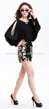Womens off shoulder bat sleeve top + sequins skirts 2pc set dress