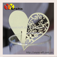 """heart shaped card,Laser cut """"heart"""" place cards for wine glass wholesale and retail"""