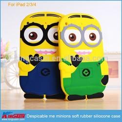 For iPad 2 3 4 minions silicone case, despicable me minions soft rubber silicone case for iPad 2/3/4