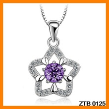 Delicate Pentagram Zircon And Rhinestone 925 Silver Pendant Wholesale ZTB 0125