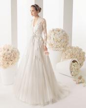 The bride deep V-neck long-sleeve white dress trailing new wedding dress for muslim women