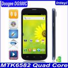 Original Doogee DG500c phone DG500 Updated phone Quad core 1.2G MTK6582 13MP 1G+4G White Black in stock OTG Android4.2 5.0'' IPS
