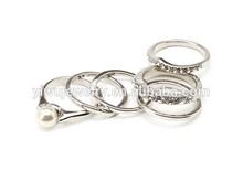 R798-105 fashion women jewelry trendy rhinestone silver pearl ring set