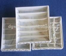 Fashion Beige Folding Plaid Non-woven Fabrics Bra Storage Box Bag With Cover
