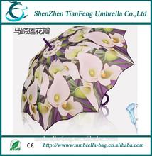 Straight fation Calla lily petals umbrella supper windproof and waterproof umbrella for ladies