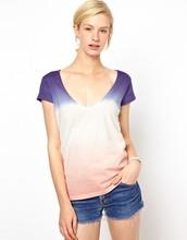 Women Low-Cut Tie-Dye T Shirt