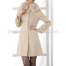 2014-2015 elegant and luxury 100% lady long winter cashmere coat