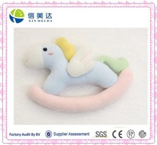 Cute little Horse pegasus hand bell baby rattle toys stuffed animal plush toy