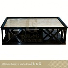 Modern Wooden acrylic coffee table and cube with marble top for living room furniture jt16-07- JL&C Furniture