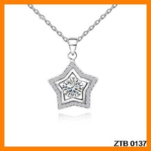 Dilicate Rhinestone And Zircon 925 Silver Necklace Pendant Wholesale ZTB 0137
