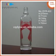 high-end designed square crystal tequila 70cl pink wine bottle