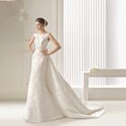 Simple bridal satin waist halter shoulder straps Qi trailing fishtail wedding dress sexy low back wedding dress