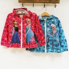 Girls autumn&winter coats 2014 plush linning elsa and anna frozen coat girls winter jacket