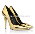 Calidad superior de las mujeres de la boda de oro bombas/negro/rojo de cuero zapatos de tacón alto zapatos de las mujeres