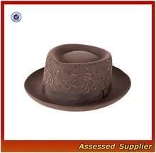 XJ052/Custom brown lace wool felt hat/fashion wool felt hat