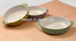 Oval Shape Ceramic Ramekin Bowl, Solid color Salad Bowl with Ears