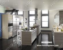 Modern matt laminated finish kitchen cabinets,popular interior design, kitchen cupboard with two small islands