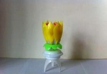 happy birthday flower candle with music/Double-deck rotating lotus candle for birthday