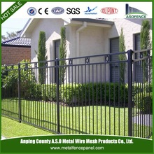 ornamental monocycle Galvanized E-coat 3-Rails Flat Top home steel fence with ring