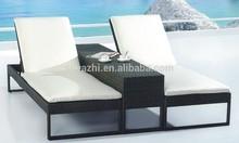 outdoor furniture PE rattan sun lounger double seat