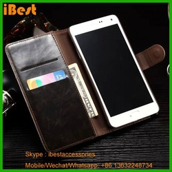 alibaba new product stand flip leather case for galaxy note 4,aluminium case wallet