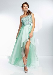 High Low Style Beaded One Shoulder See Through Mint Coral Lavender Chiffon Front Short Long Back Prom Dresses Evening Gowns J