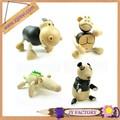 Jieyi handmade carved wooden zoo animal set toy,hand carved wooden animal figurines
