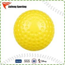 9 inch yellow pitching machine dimpled baseball